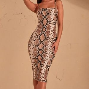 Beige snake print strappy midi dress